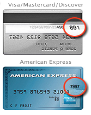 Amex 4 digits front/MC or Visa 3 digits back